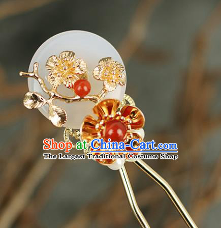 Handmade Chinese Traditional Jade Plum Blossom Hairpins Traditional Classical Hanfu Hair Accessories for Women