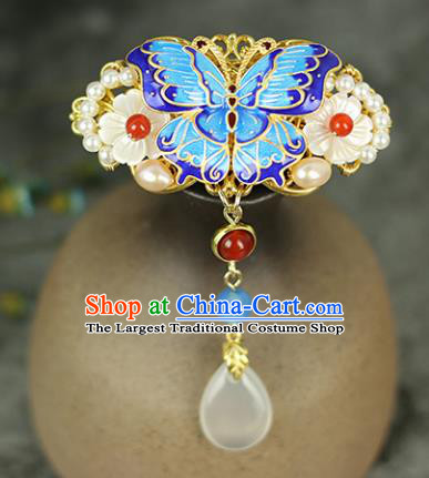 Handmade Chinese Traditional Cloisonne Hair Claw Traditional Classical Hanfu Hair Accessories for Women