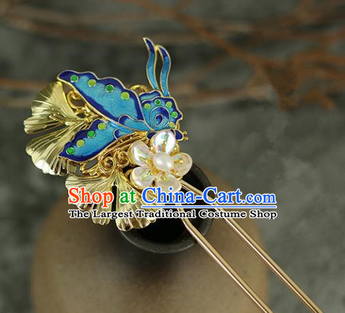 Handmade Chinese Traditional Blueing Butterfly Hairpins Traditional Classical Hanfu Hair Accessories for Women