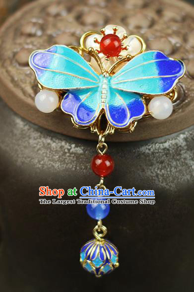 Chinese Traditional Cloisonne Butterfly Brooch Traditional Classical Hanfu Jewelry Accessories for Women
