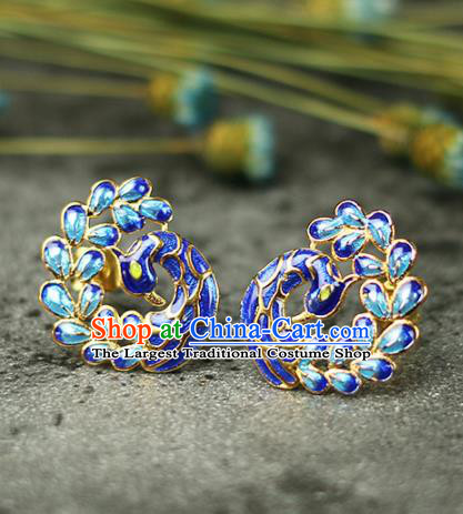Chinese Handmade Cloisonne Peacock Earrings Traditional Classical Hanfu Ear Jewelry Accessories for Women