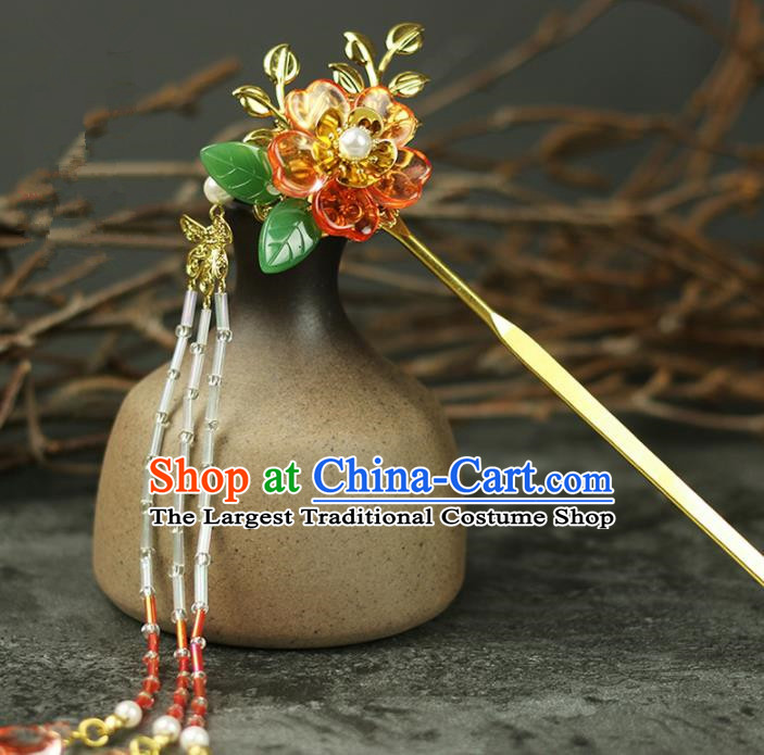 Handmade Chinese Traditional Tassel Flowers Hairpins Traditional Classical Hanfu Hair Accessories for Women