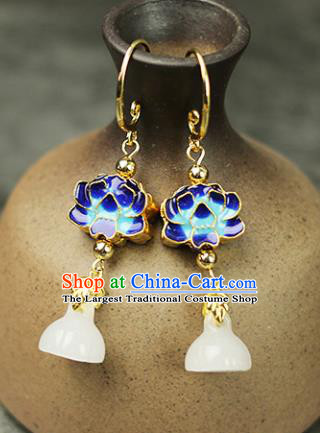 Chinese Handmade Blueing Lotus Earrings Traditional Classical Hanfu Ear Jewelry Accessories for Women
