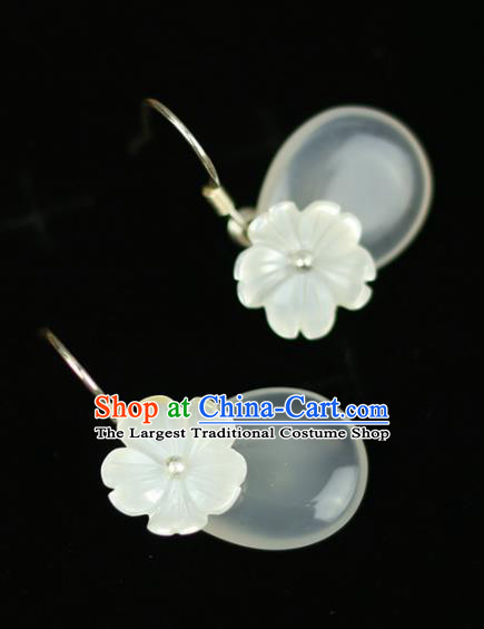 Chinese Handmade Flowers Earrings Traditional Classical Hanfu Ear Jewelry Accessories for Women
