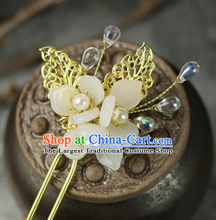 Handmade Chinese Traditional White Flowers Hairpins Traditional Classical Hanfu Hair Accessories for Women