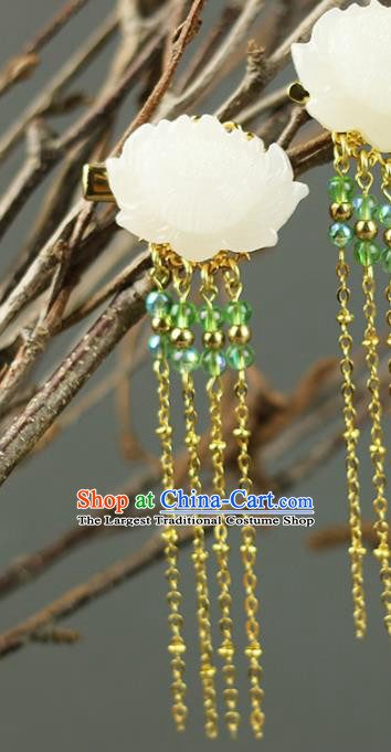 Handmade Chinese Traditional Carving Jade Lotus Hair Claw Traditional Classical Hanfu Hair Accessories for Women