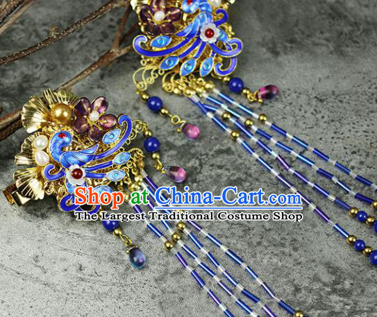Handmade Chinese Traditional Blueing Phoenix Hair Claws Traditional Classical Hanfu Hair Accessories for Women