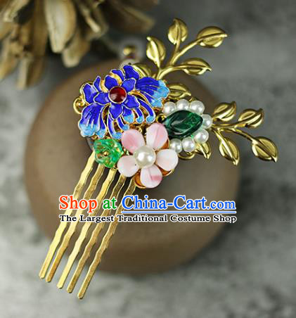 Handmade Chinese Traditional Blueing Chrysanthemum Hair Combs Traditional Classical Hanfu Hair Accessories for Women