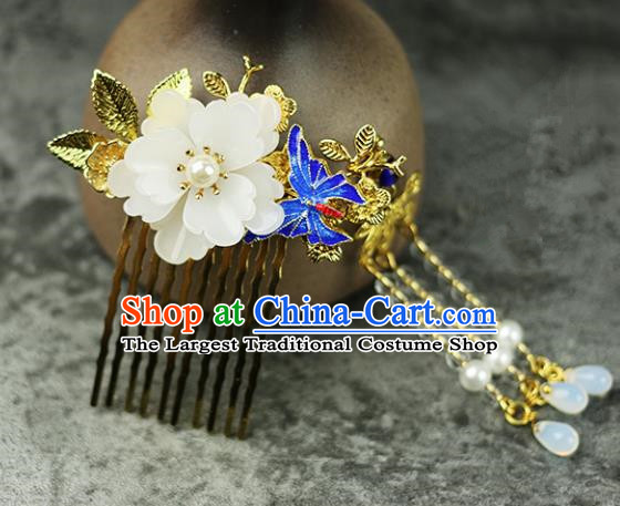 Handmade Chinese Traditional Blueing Butterfly Hair Combs Traditional Classical Hanfu Hair Accessories for Women