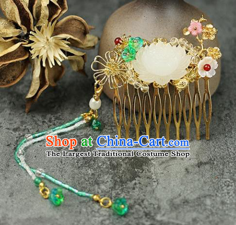 Handmade Chinese Traditional Carving Lotus Hair Combs Traditional Classical Hanfu Hair Accessories for Women