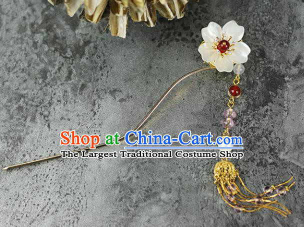 Handmade Chinese Traditional Shell Flower Tassel Hairpins Traditional Classical Hanfu Hair Accessories for Women
