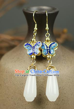 Chinese Handmade Blueing Butterfly Jade Earrings Traditional Classical Hanfu Ear Jewelry Accessories for Women