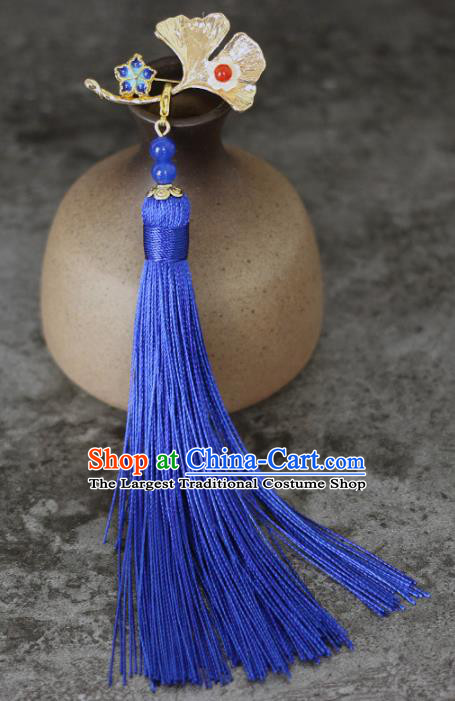 Chinese Traditional Ginkgo Leaf Tassel Brooch Traditional Classical Hanfu Jewelry Accessories for Women