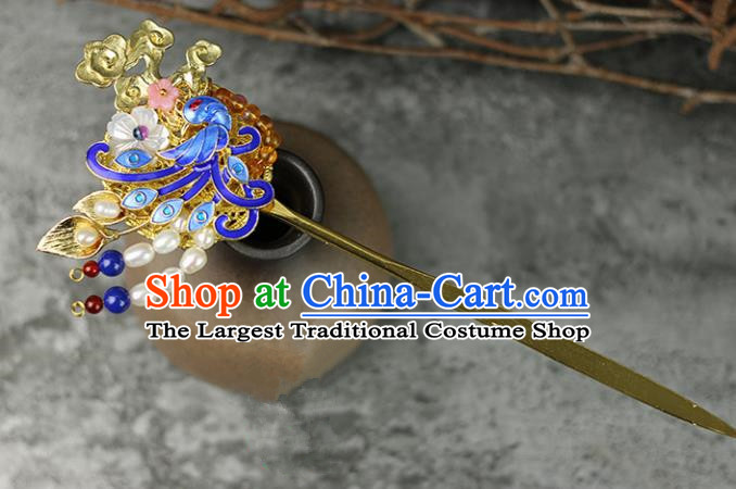 Handmade Chinese Traditional Blueing Pearls Hairpins Traditional Classical Hanfu Hair Accessories for Women