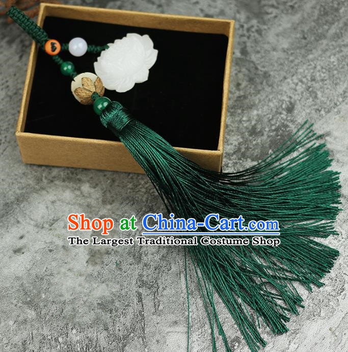 Handmade Chinese Traditional Green Tassel Lotus Jade Pendant Traditional Classical Hanfu Jewelry Accessories for Women