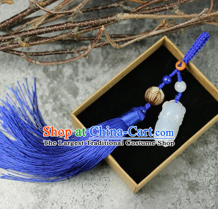 Handmade Chinese Traditional Blue Tassel Jade Cicada Pendant Traditional Classical Hanfu Jewelry Accessories for Women