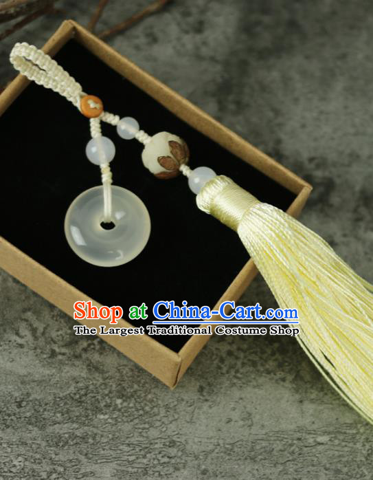 Handmade Chinese Traditional Yellow Tassel Jade Pendant Traditional Classical Hanfu Jewelry Accessories for Women