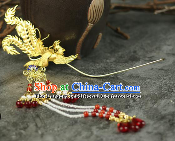 Handmade Chinese Traditional Golden Phoenix Tassel Hairpins Traditional Classical Hanfu Hair Accessories for Women