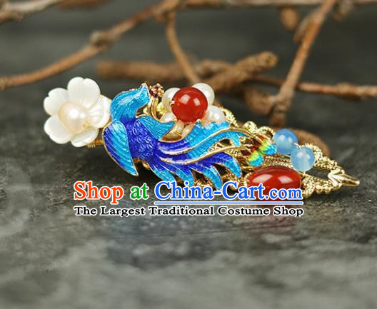 Handmade Chinese Traditional Blueing Phoenix Hair Claw Traditional Classical Hanfu Hair Accessories for Women