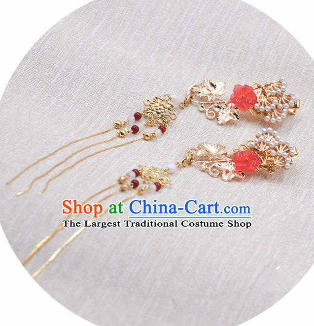 Handmade Chinese Traditional Golden Tassel Hair Claws Ancient Classical Hanfu Hair Accessories for Women