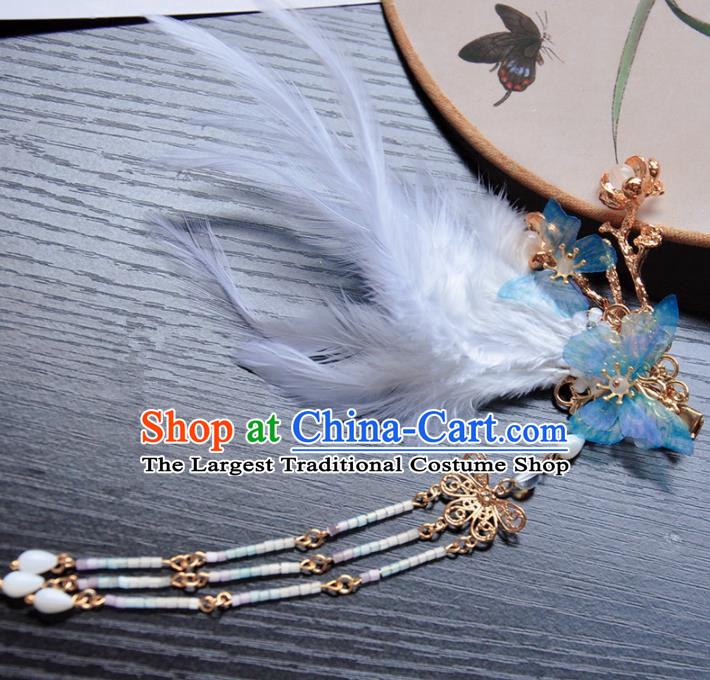 Handmade Chinese Traditional Blue Butterfly Feather Tassel Hair Claws Ancient Classical Hanfu Hair Accessories for Women