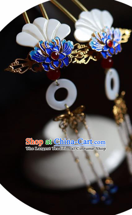 Handmade Chinese Traditional Blueing Lotus Shell Hairpins Ancient Classical Hanfu Hair Accessories for Women