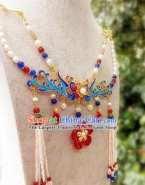 Chinese Traditional Blueing Necklace Traditional Classical Hanfu Jewelry Accessories for Women