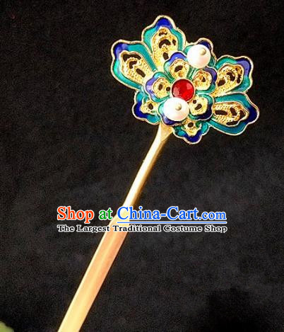 Chinese Ancient Traditional Hanfu Blueing Hairpins Handmade Classical Hair Accessories for Women