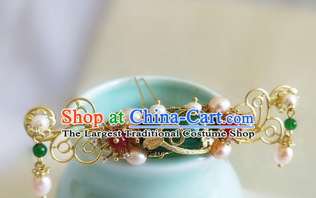Chinese Ancient Traditional Hanfu Pearls Jade Hairpins Handmade Classical Hair Accessories for Women