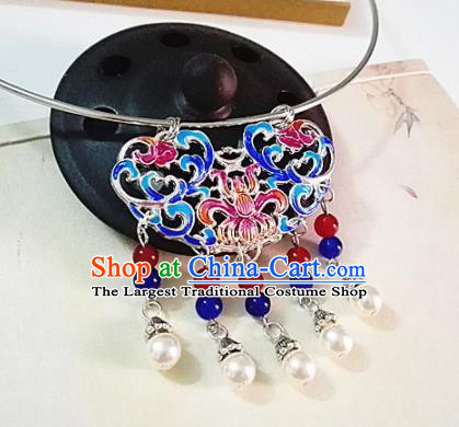 Chinese Traditional Hanfu Cloisonne Blue Necklace Traditional Classical Jewelry Accessories for Women