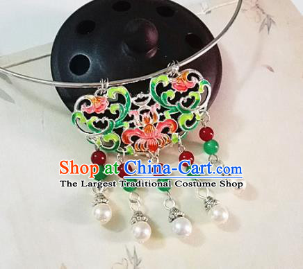 Chinese Traditional Hanfu Cloisonne Green Necklace Traditional Classical Jewelry Accessories for Women