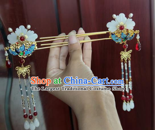 Chinese Ancient Traditional Hanfu Blueing Tassel Step Shake Hairpins Handmade Classical Hair Accessories for Women