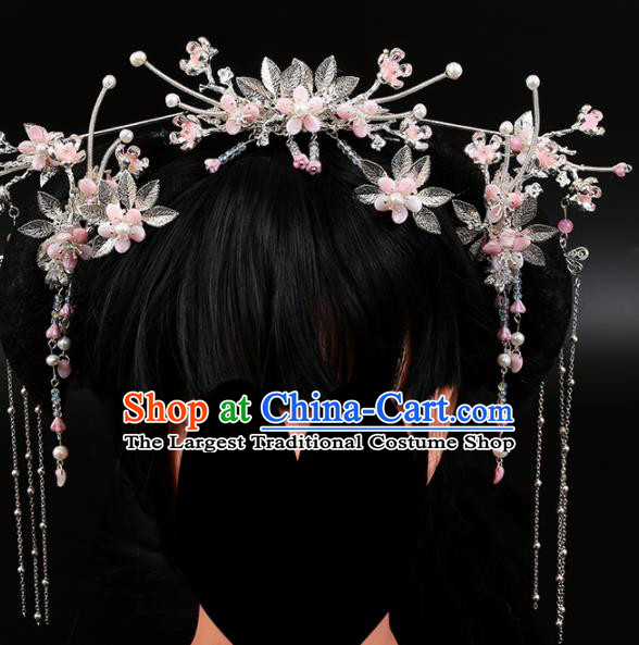 Chinese Ancient Traditional Hanfu Pink Flowers Phoenix Coronet Hairpins Handmade Classical Hair Accessories for Women