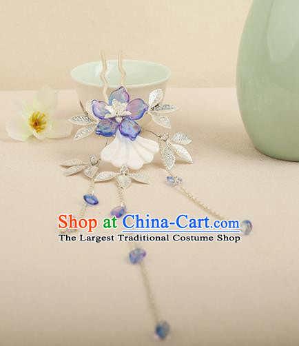 Chinese Ancient Traditional Hanfu Blue Flower Tassel Hairpins Handmade Classical Hair Accessories for Women