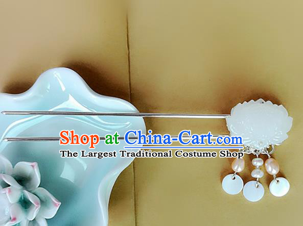 Chinese Ancient Traditional Hanfu Carving Lotus Jade Hairpins Handmade Classical Hair Accessories for Women