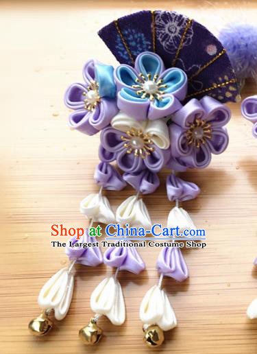 Asian Japanese Traditional Kimono Purple Flowers Hair Stick Japan Handmade Classical Hair Accessories for Women