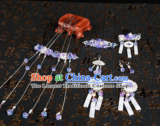 Chinese Ancient Traditional Hanfu Shell Hairpins Handmade Classical Hair Accessories Complete Set for Women