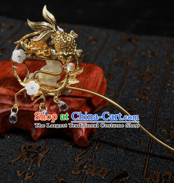 Chinese Ancient Traditional Hanfu Jade Rabbit Hairpins Handmade Classical Hair Accessories for Women