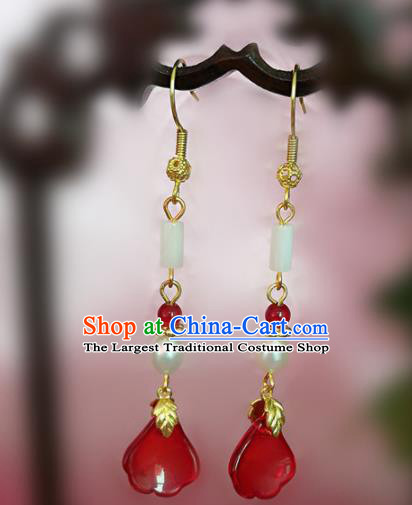 Chinese Ancient Handmade Jade Pearl Earrings Traditional Classical Hanfu Ear Jewelry Accessories for Women