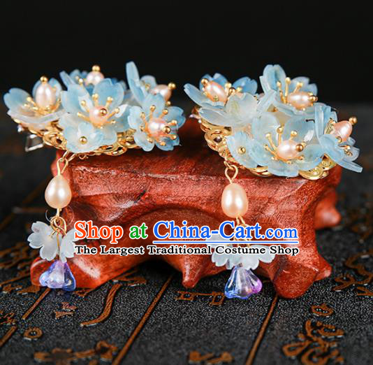 Chinese Ancient Traditional Hanfu Blue Flowers Hair Claws Handmade Classical Hair Accessories for Women