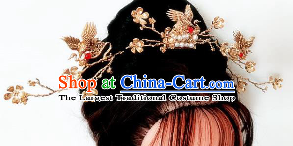Chinese Ancient Traditional Cranes Hairpins Handmade Classical Hair Accessories Complete Set for Women
