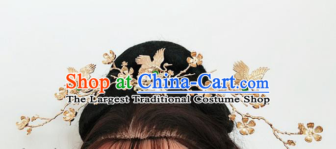 Chinese Ancient Traditional Cranes Crown Hairpins Handmade Classical Hair Accessories Complete Set for Women