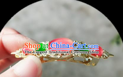Chinese Ancient Traditional Hanfu Rose Chalcedony Hair Claw Handmade Classical Hair Accessories for Women