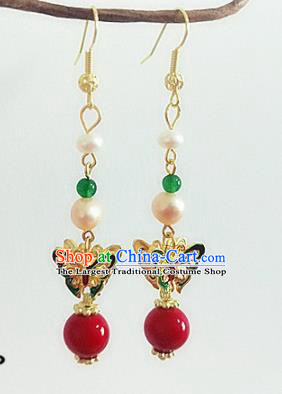 Chinese Ancient Handmade Pearls Butterfly Earrings Traditional Classical Hanfu Ear Jewelry Accessories for Women