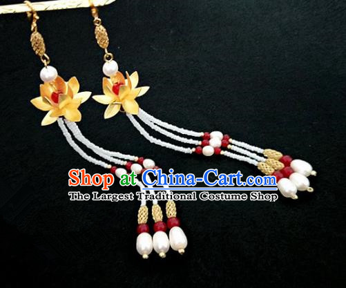 Chinese Ancient Handmade Lotus Tassel Earrings Traditional Classical Hanfu Ear Jewelry Accessories for Women