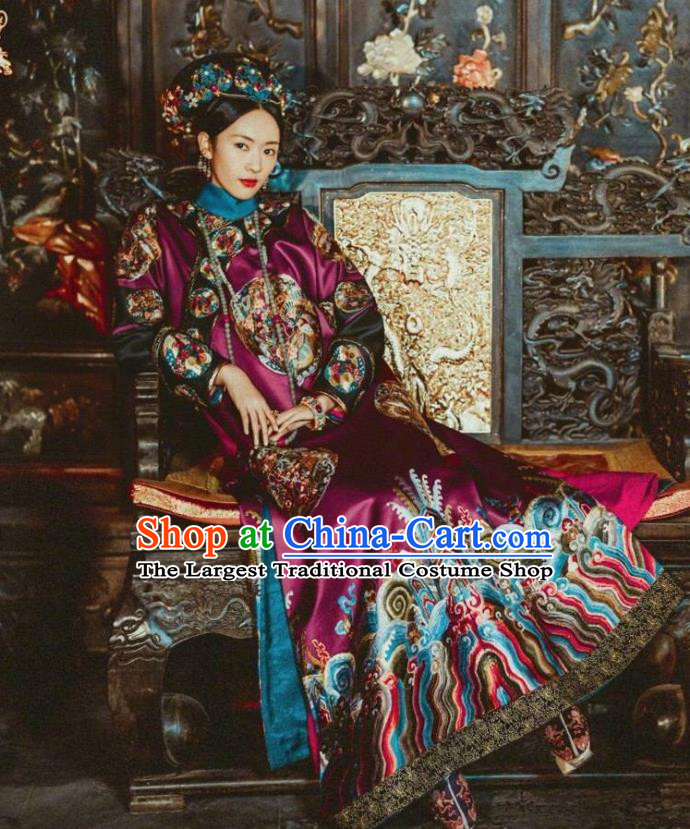Drama Ruyi Royal Love in the Palace Chinese Ancient Qing Dynasty Imperial Concubine Embroidered Costumes and Headpiece Complete Set