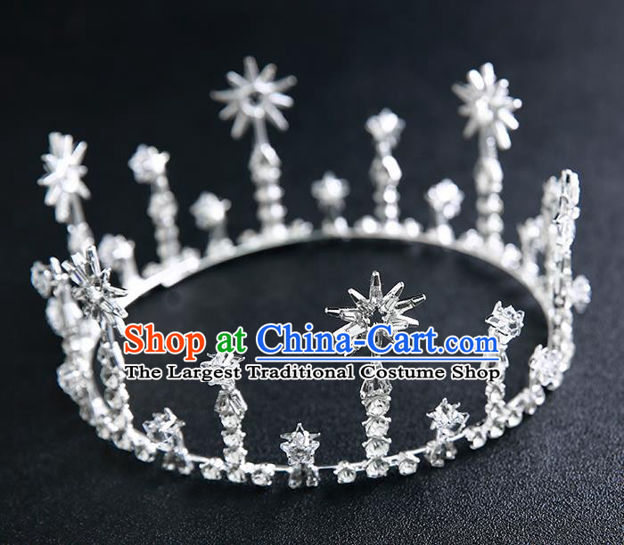 Handmade Top Grade Hair Accessories Baroque Crystal Round Royal Crown for Women
