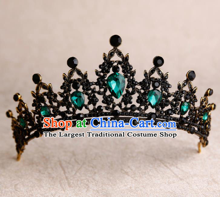 Handmade Top Grade Bride Green Crystal Royal Crown Hair Accessories Baroque Queen Hair Clasp for Women