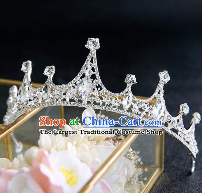 Handmade Top Grade Crystal Royal Crown Hair Accessories Baroque Princess Hair Clasp for Women