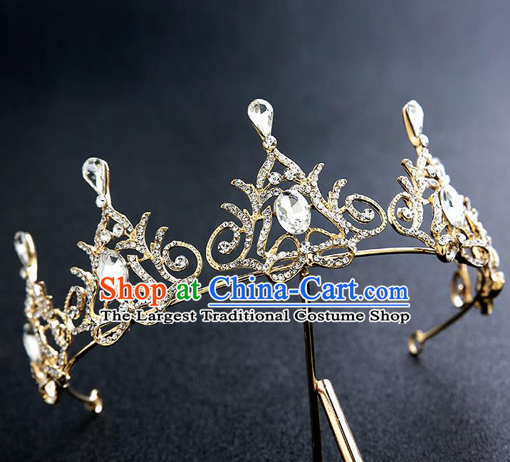 Top Grade Handmade Crystal Royal Crown Hair Accessories Baroque Princess Hair Clasp for Women